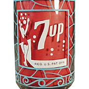 Vintage, 7-Up Advertising Glass - Unusual Design