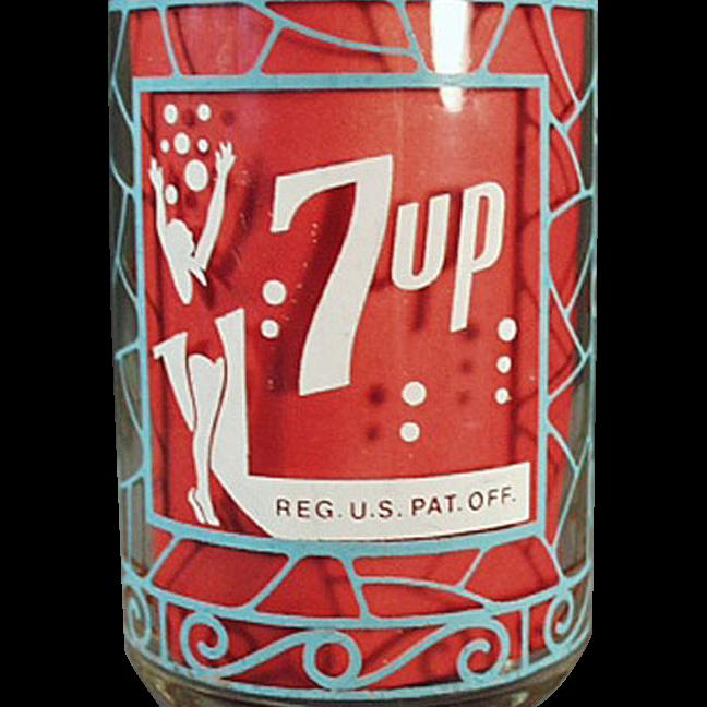 Vintage, 7-Up Advertising Glass - Unusual Design