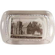 Vintage, Glass Paperweight - First Methodist Church of Cheyenne