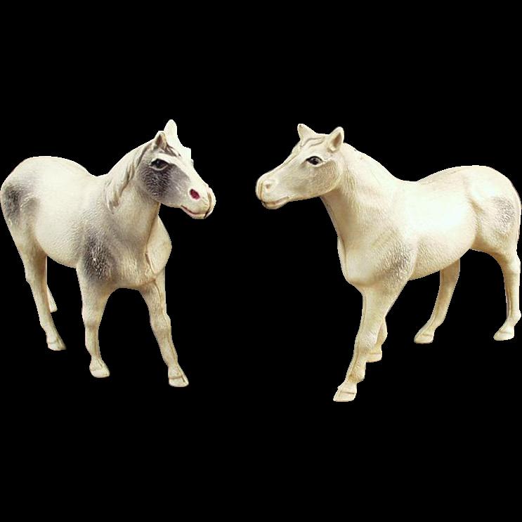 2 Vintage Celluloid, Toy Horse Figures