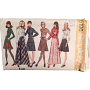 Vintage Simplicity Pattern #5196 - Mod Fashions - Skirts, Blouse & Top - 1972, Size 14