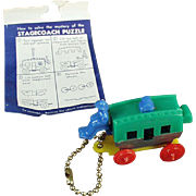 Vintage, Puzzle Key Chain - Plastic Stage Coach with Original Instructions