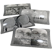 4 Vintage Stereoscopic Cards - Scenic Views including Mexico City