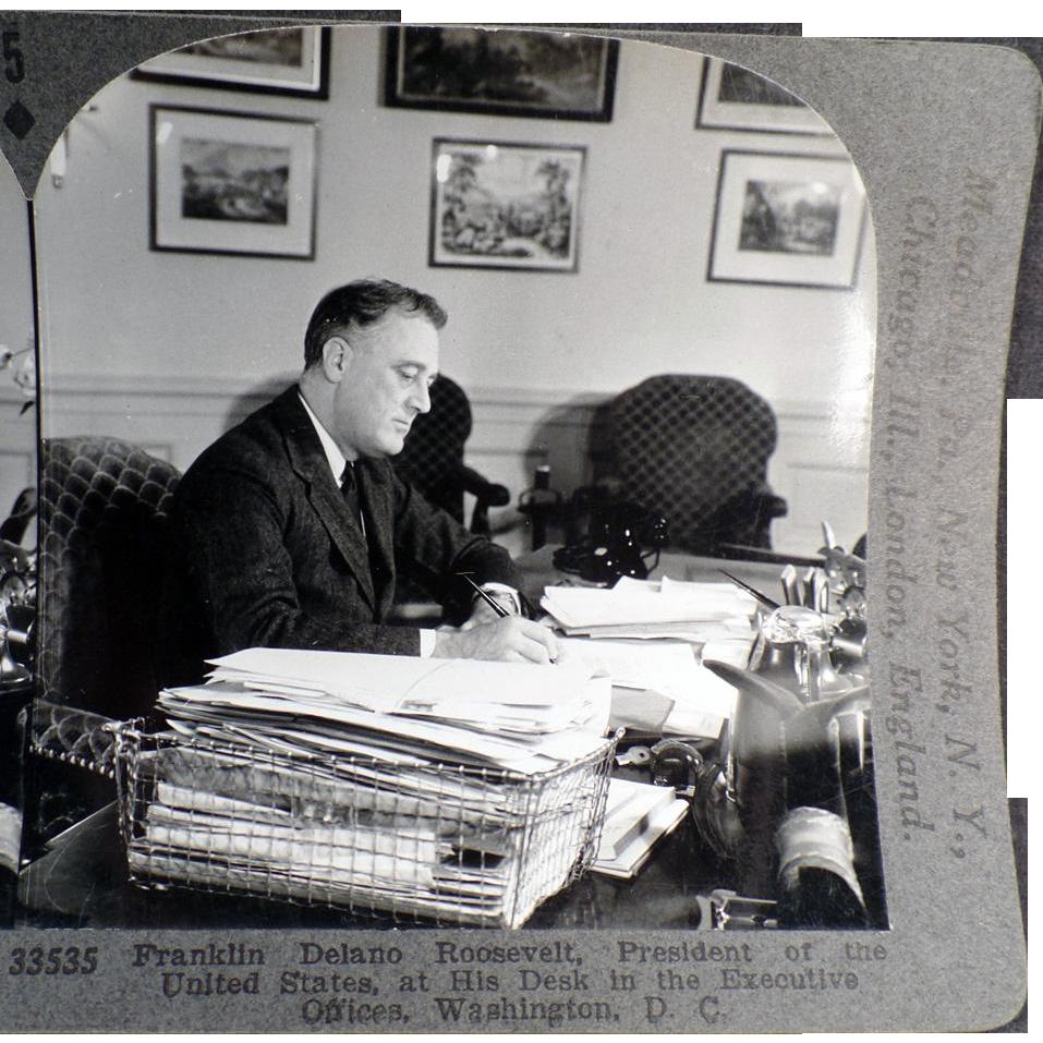 Vintage Stereoscopic Card - #33535 - President Franklin D. Roosevelt
