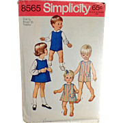 Vintage, Simplicity Pattern #8565 - Toddler, Suit, Dress or Jumper & Blouses- 1969