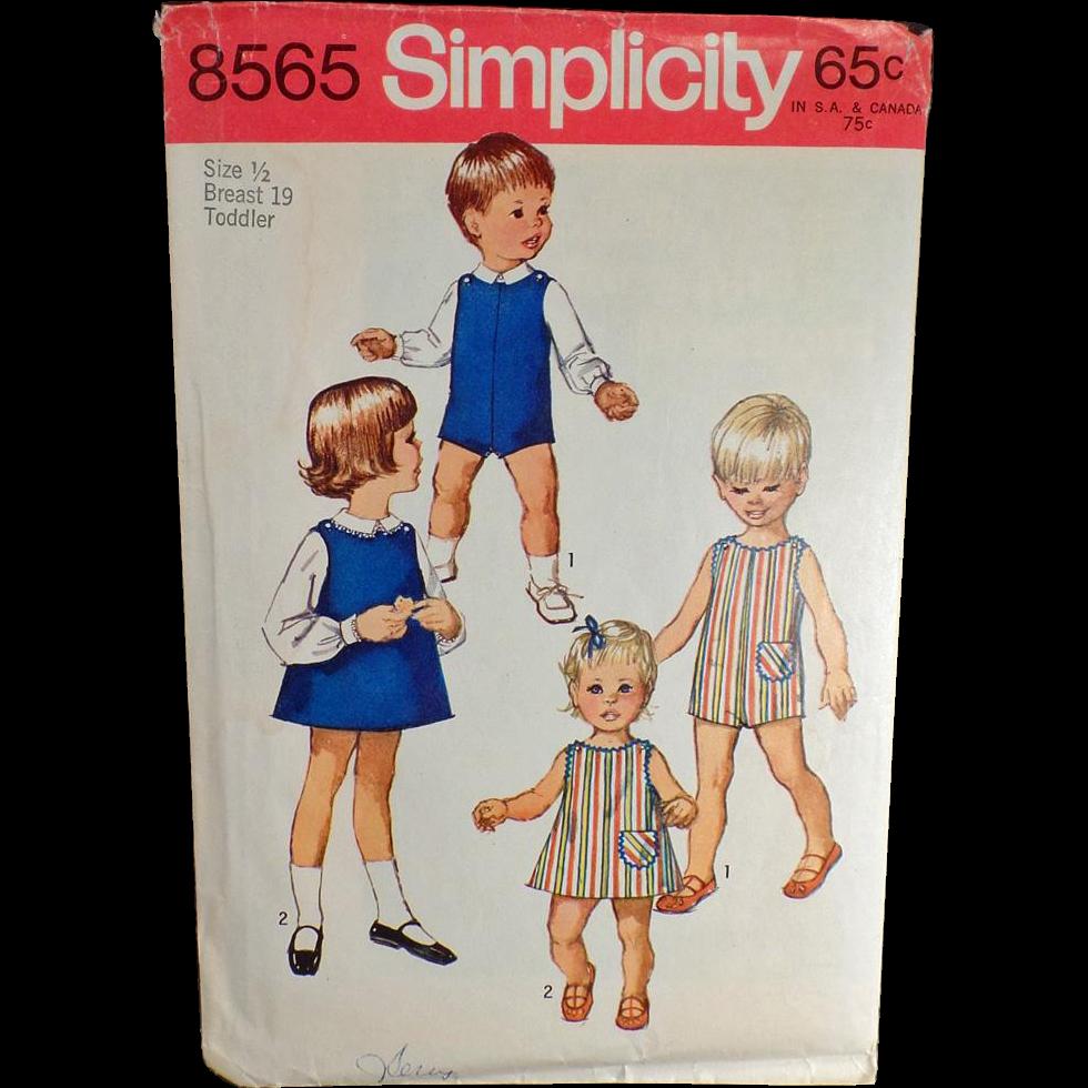 Vintage, Simplicity Pattern #8565 - Toddler, Suit, Dress or Jumper & Blouses- 1969