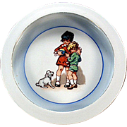 Old Baby Plate with Cute Design - Children and Dog - Made in Germany