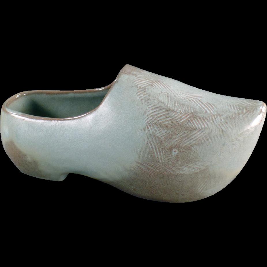 Vintage, Frankoma Planter - Dutch Shoe in Woodland Moss Glaze