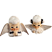 Pair of Old, Porcelain Christmas Angel Busts - Very Sweet