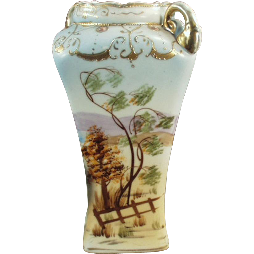 Old, Hand Painted, Porcelain Vase Pretty Scene with Gold Embellishments