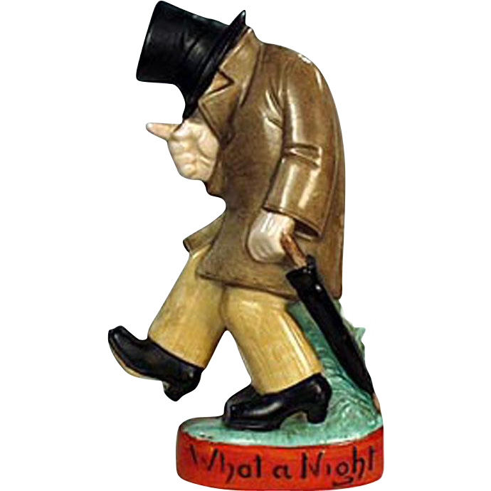 """Vintage, Schafer and Vater Figural Flask - """"What a Night"""" Drunk"""