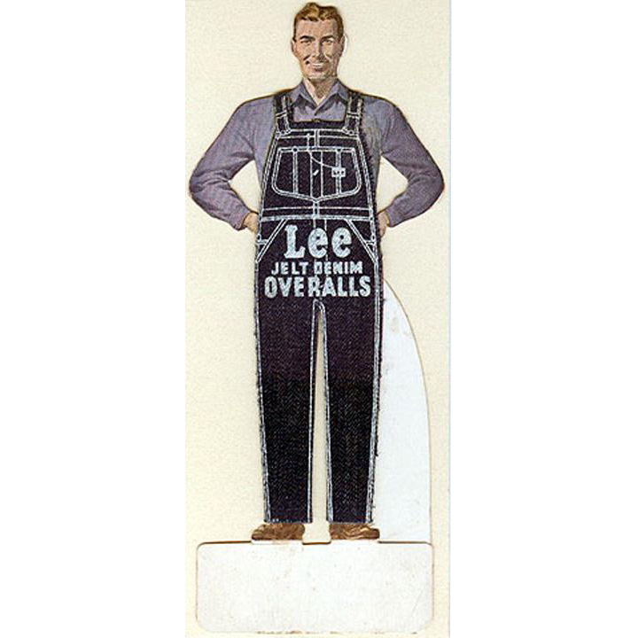 "Vintage, ""Lee"" Denim Overalls, Die Cut Advertising"