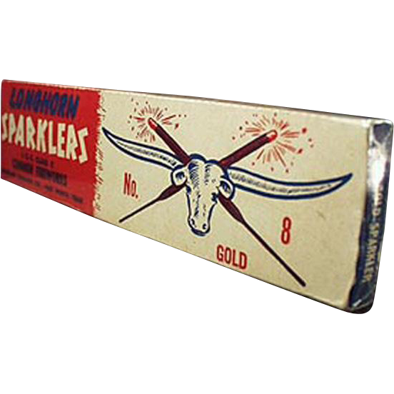 Vintage, 4th of July Sparklers Box - Longhorn Fireworks Co. of Fort Worth Texas
