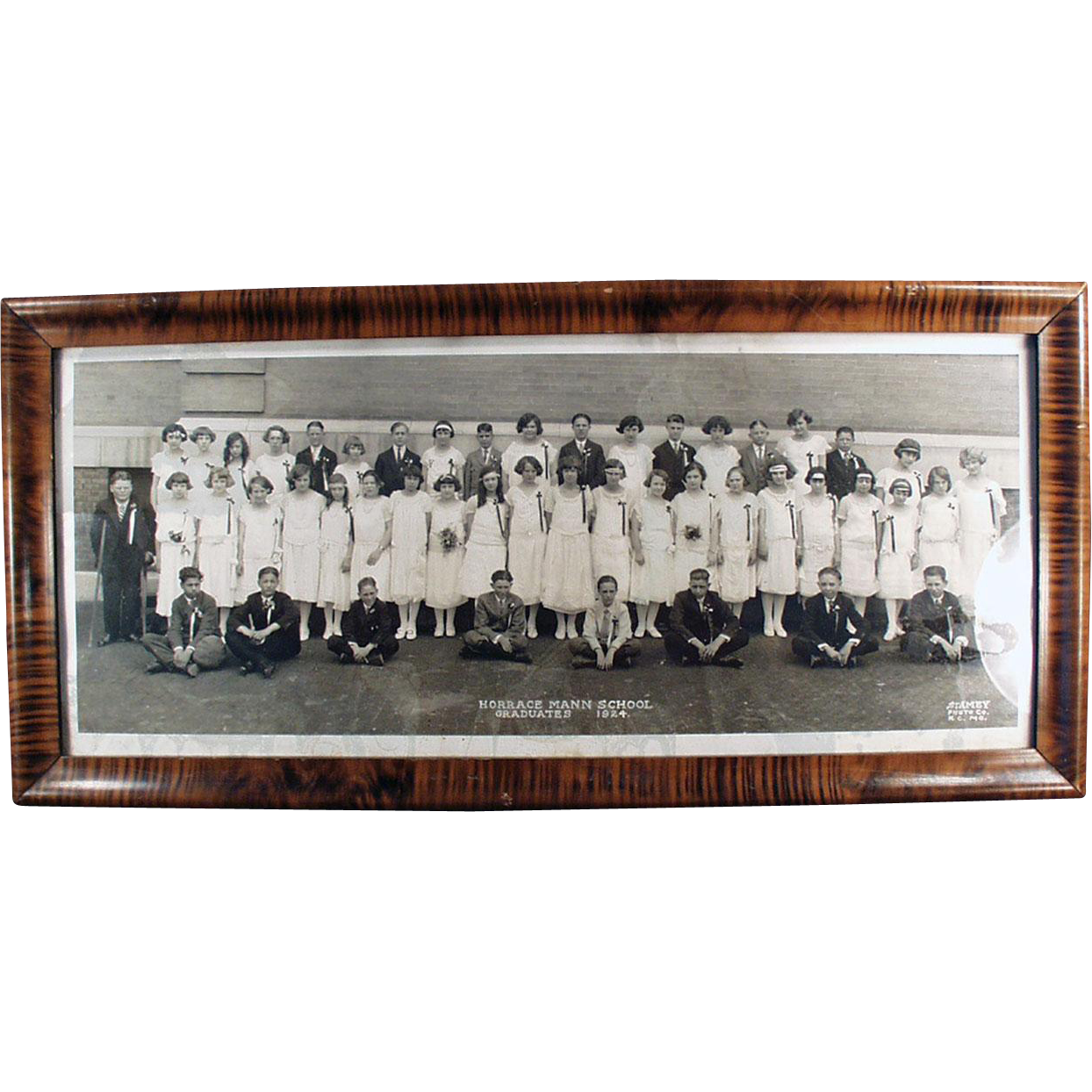 Vintage, Framed Photograph - 1924, Horrace Mann's Graduating Class - Kansas City