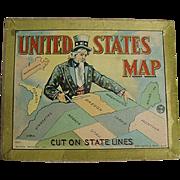 Vintage, Milton Bradley Puzzle - Uncle Sam & U.S. Map