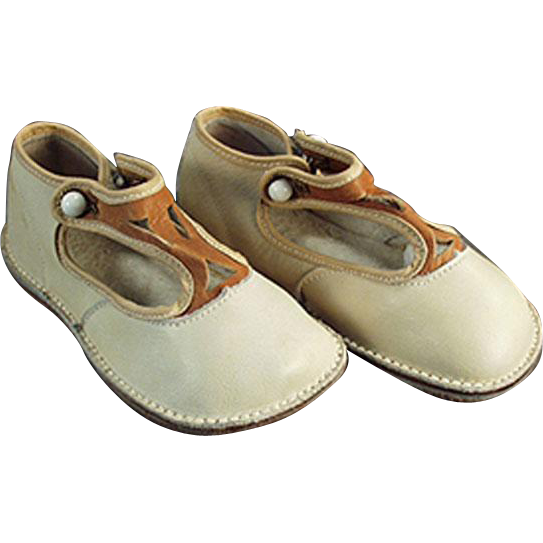 Vintage Baby Shoes - Leather with Straps, Like New Condition