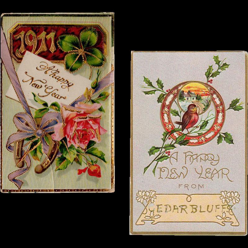 2 Vintage Postcards - New Years Greetings