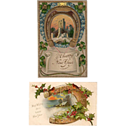 Two, Vintage Postcards - News Years Greetings with Horseshoe Designs