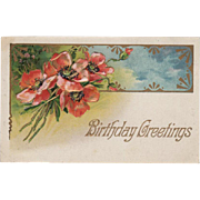 "Vintage, ""Birthday Greetings"" Postcard with Poppies"