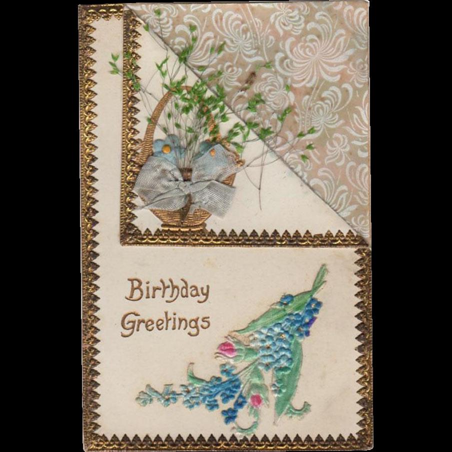 Vintage, Birthday Postcard with Dried Flowers & Embossed Design