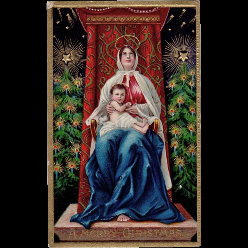 Beautiful, Vintage, Christmas Postcard - Madonna & Child, Vivid Colors