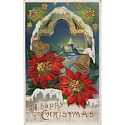 Vintage, Christmas Postcard with Poinsettias and Bells