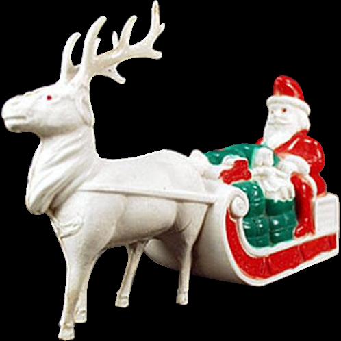 Vintage, Celluloid, Santa Claus and Reindeer Figure