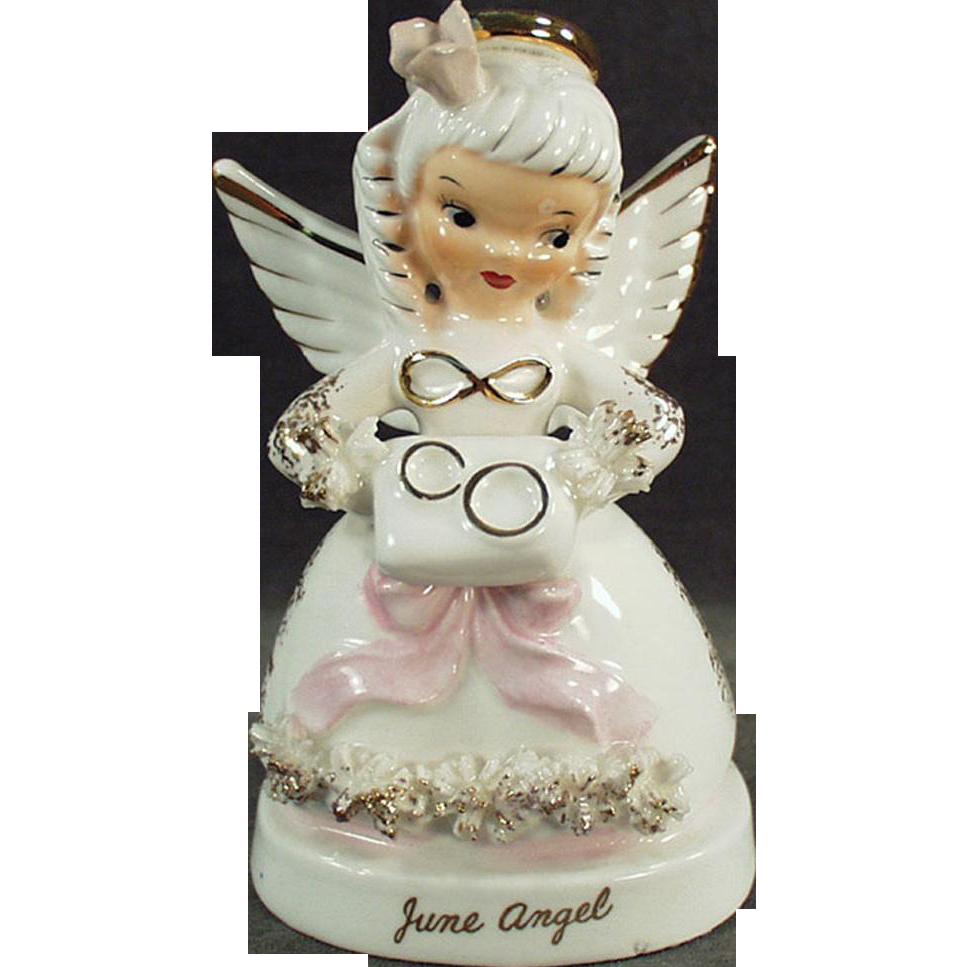 Vintage, Porcelain Angel - June with Wedding Rings