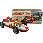 Vintage, Japanese Tin, Ferrari Race Car & Driver with Original Box - Indianapolis Hero