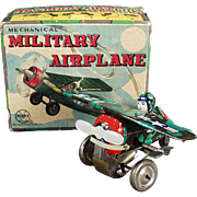 Vintage, Marx Wind-up, Mechanical Military Airplane with Original Box