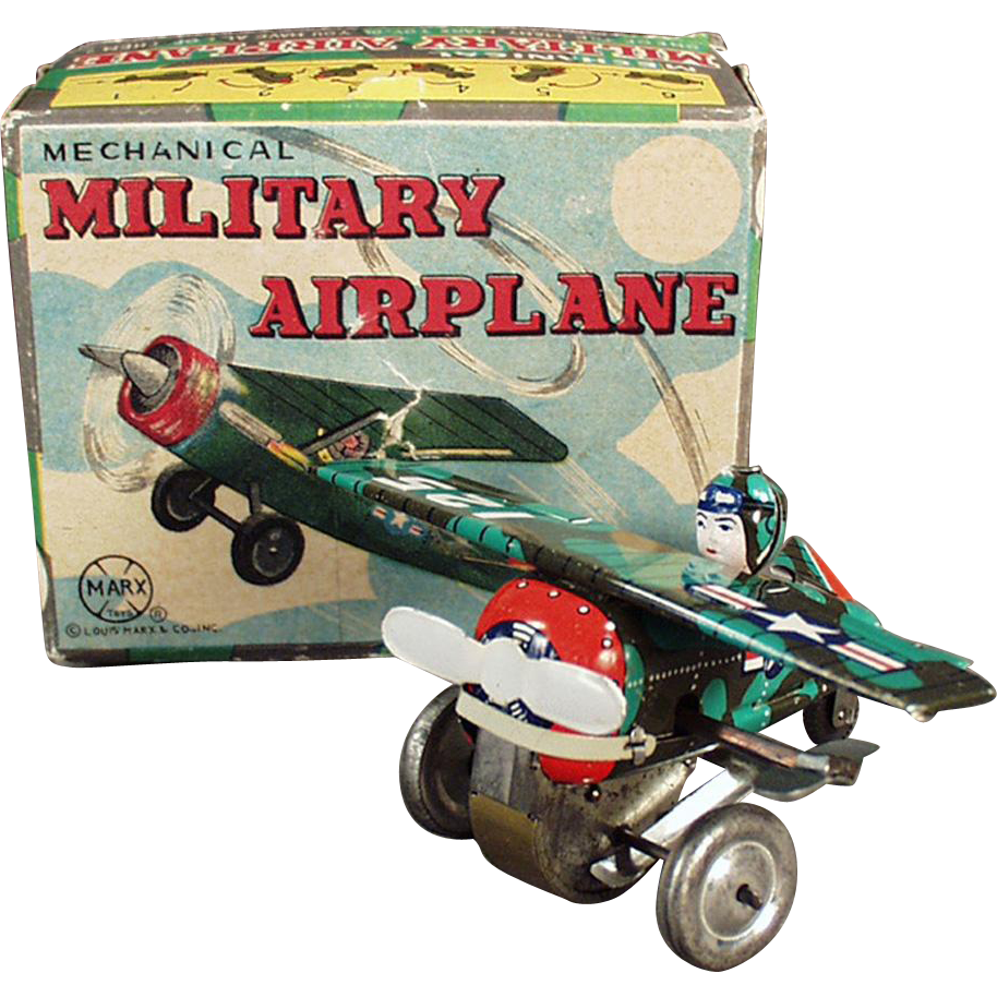 Vintage Marx Wind-up Toy - Mechanical Military Camouflage Airplane with Original Box