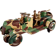 Vintage Wind Up Tin Toy - Camouflage Military Vehicle ca 1920's - 1930's