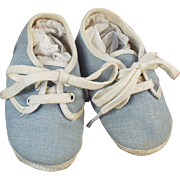 Vintage Baby Shoes - Blue Denim with Original Box
