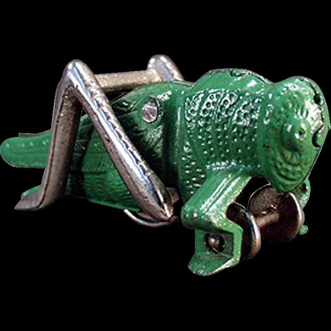 Vintage Hubley Cast Iron Carpet Toy - Green Grasshopper - Original Paint