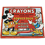 Vintage Crayons Tin with Mickey Mouse and Donald Duck