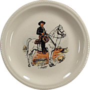 Vintage, Hopalong Cassidy Dinner Plate - Black Version