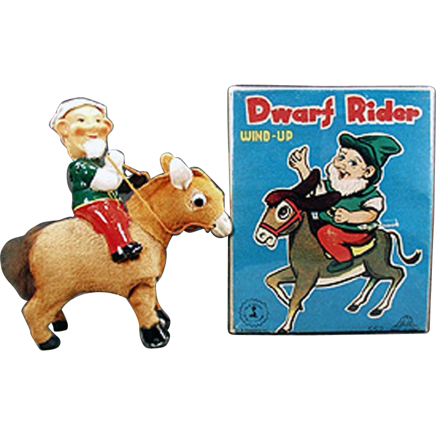 Vintage Wind Up Toy - Dwarf on Donkey with Original Box