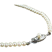 Vintage, String of Cultured Pearls - Graduated, Single Strand, Silver Clasp