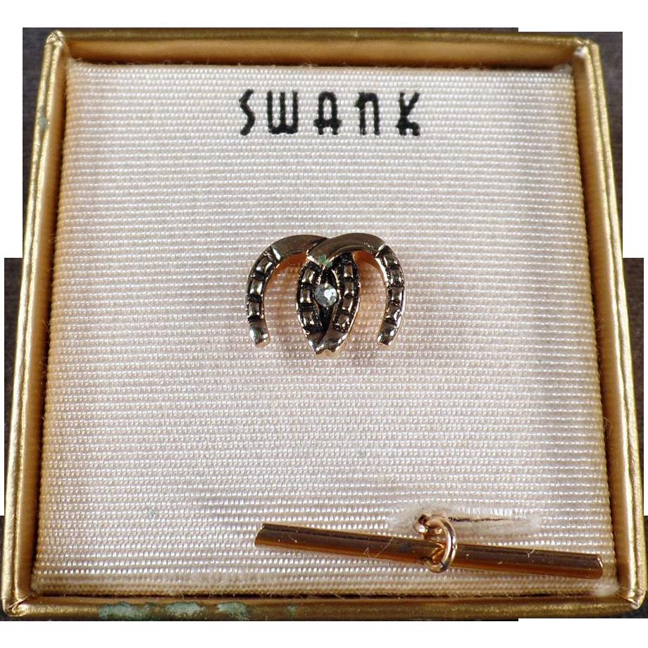 Vintage Tie Clip - Double Horseshoes - Swank, with Original Box