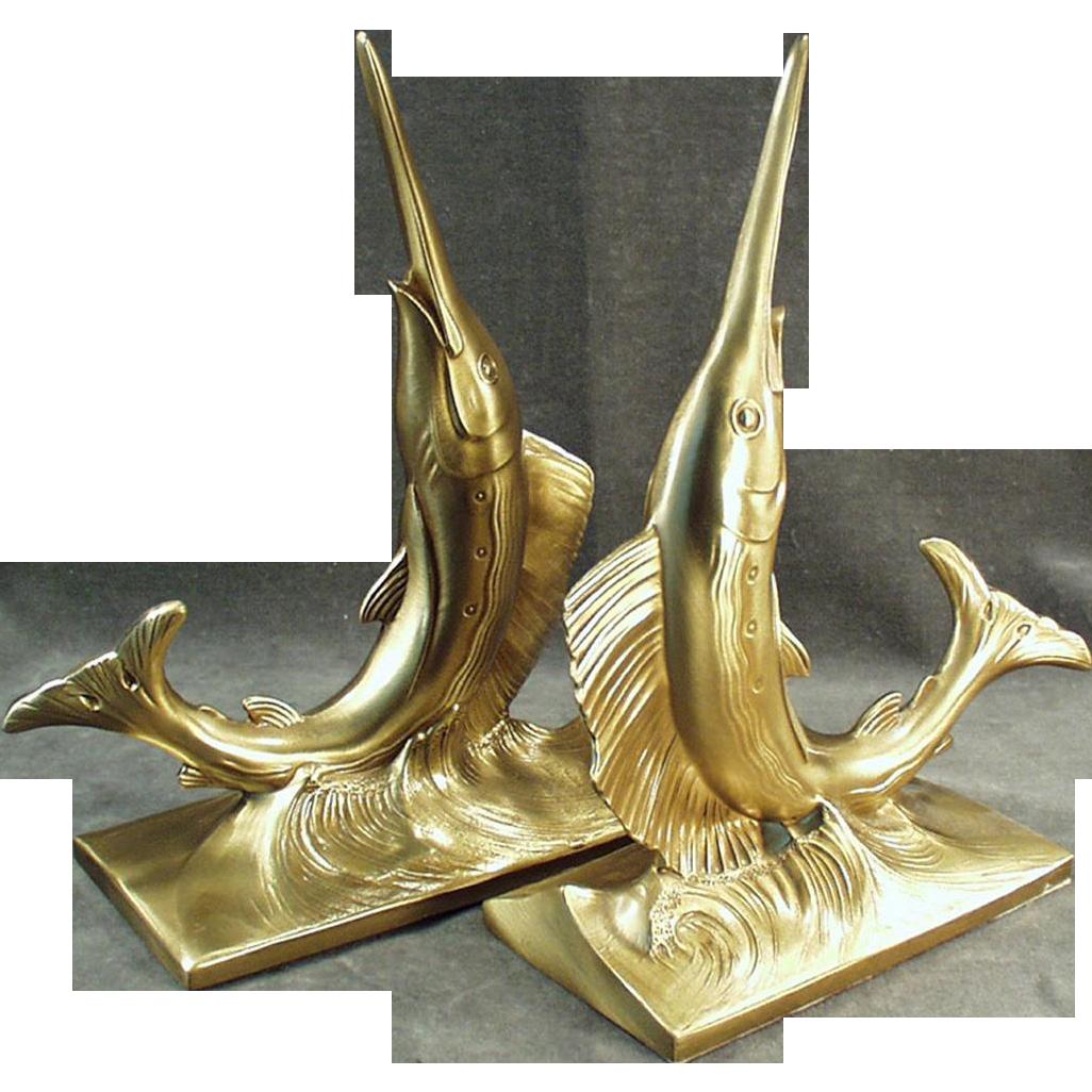 Vintage Bookends - Stunning Swordfish - PM Craftsman, Philadelphia Manufacturing Co.