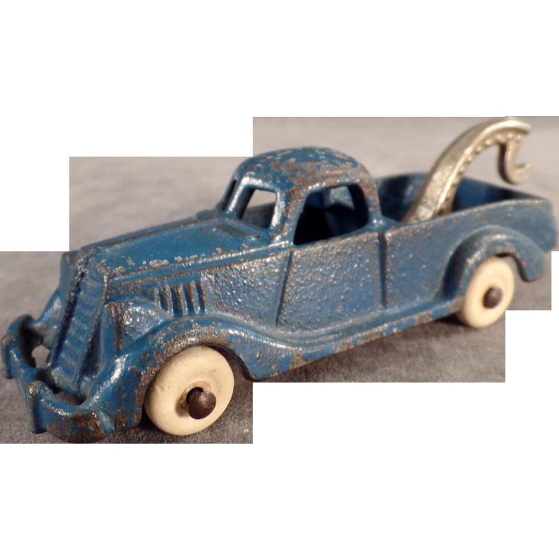 Vintage Cast Iron, Hubley Wrecker Tow Truck - Original Paint