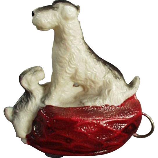 Vintage, Celluloid Tape Measure - Terrier with Pup