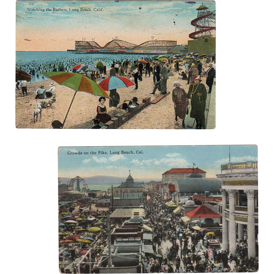 Two Vintage Postcards from Long Beach, California