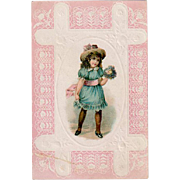Vintage Trade Card - Lion Coffee, Little Girl Dressed in Blue