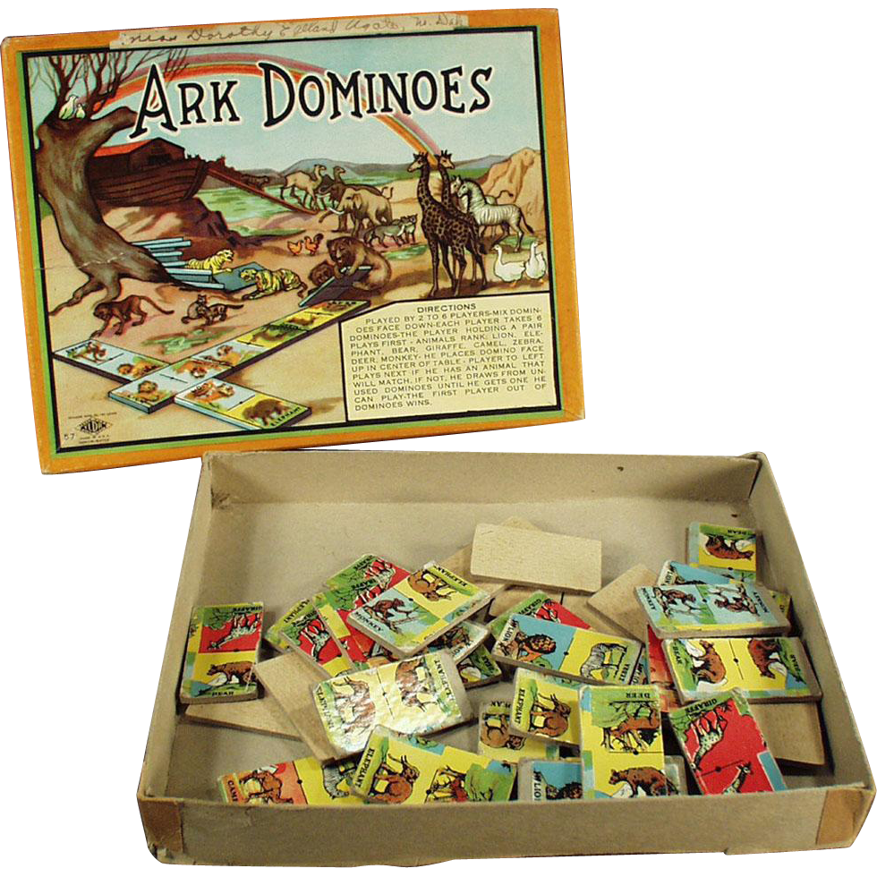 Vintage, Ark Dominoes Game with Original Box and Great Graphics
