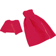 Vintage, 2 Piece Dress for Tammy & Other Similar Dolls - Red Velveteen