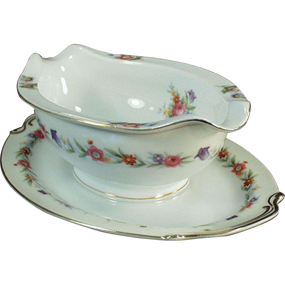 Old Gravy Boat - Occupied Japan, Sango China Gravy Boat with Attached Drip Tray