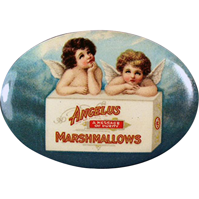 Vintage, Celluloid Pocket Mirror with Angels - Angelus Marshmallows Advertising