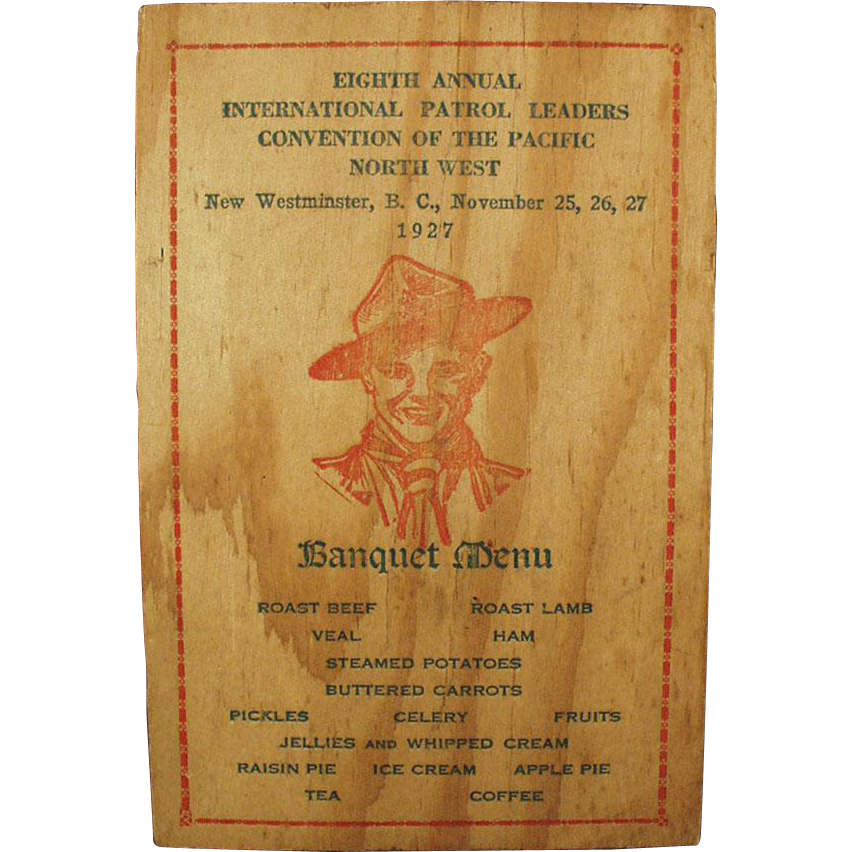 1927 Boy Scout Banquet, Menu and Program - Nice Image