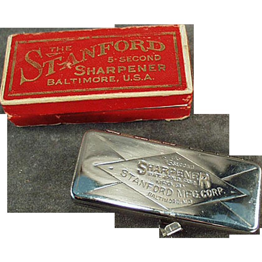 "Vintage Razor Blade Sharpener - Stanford ""5 Second"" with Original Box"